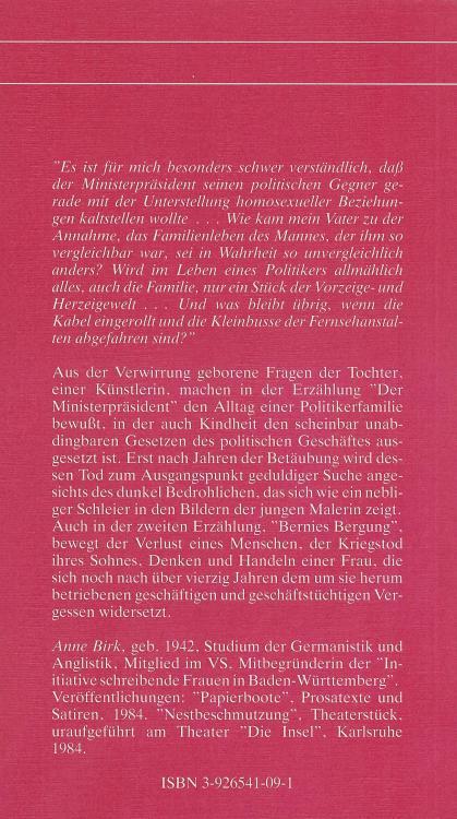 Anne-Birk-Der-Ministerpraesident-Buch-Umschlag-Alkyon-Verlag-ISBN-9783926541093-Back-Rückseite